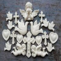 18 edible sugar gum paste fondant doves angels crosses cake topper decorations