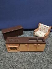 Vintage Bandai 1986 Maple Town Story Mini Tan Desk /& Chair For Dollhouse *READ*