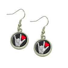 I Love You Sign Language Dangling Drop Charm Earrings