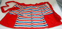 vintage handmade red white and blue  stripe pattern two pocket  half apron tie
