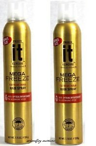Lot of 2 New Freeze It Haircare Mega Freeze Hairspray with Optical Brighteners