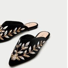 e7896dc288c Zara Women Metallic Embroidered Velvet Pointy Toe Mules Size 5 EU 35 NWT