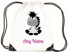 Personalised Cute ZEBRA PE/Swimming Bag by Mayzie Designs® Choice Of Text Colour