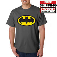 BATMAN LOGO CHARCOAL T-SHIRT Joker Dark Knight Comic Symbol DC Comics Shirt USA