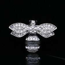 New Silver Crystal Rhinestone Cute Bee Brooch Diamante Pin Broach Women Men Gift