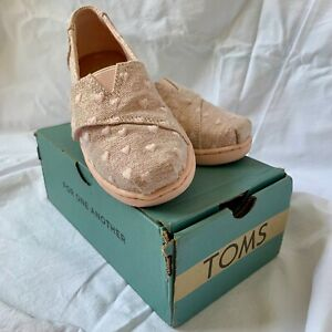 TOMS Rose Gold Heartsy Shoes - Kids' UK Size 8