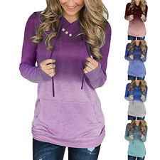 Women Casual Gradient Blouse Long Sleeve V Neck T Shirt Loose Pocket Button Top