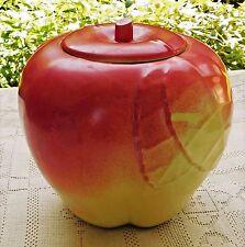 VINTAGE MID-20th CENTURY HULL POTTERY RED APPLE COOKIE JAR W/ LID