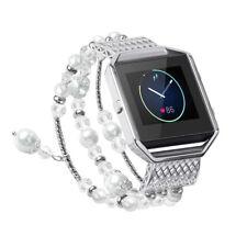 Fitbit Blaze Replacement Pearl Diamond Metal Strap Elegant Wrist Band