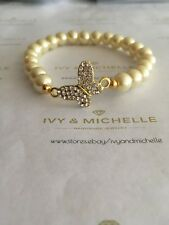 Glass Pearl Lt. Yellow Beaded Bracelet w/ Gold Tone Rihestones Butterfly Link