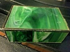 Vintage Hand Made Stained Glass Trinket Box Green Coral Hinged Lid Pewter trim