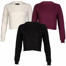 Acrylic Crew Neck Long Sleeve Cropped Jumpers & Cardigans for Women