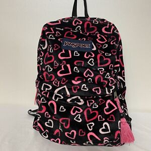 JanSport Backpack 2 Zipper Pockets Black With Pink And White Hearts Soft Fleece