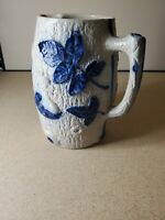 Vintage Blue White Stoneware Pitcher with Leaf and Human Face 8'' T ~ 7'' W