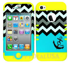KoolKase Hybrid Silicone Cover Case for Apple iPhone 4 4S - Chevron Anchor 03