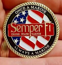 US Marine Corp once a Marine always a Marine challenge coin Semper Fi