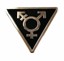 Transgender Triangle Black and Silver - Enamel Lapel or Fabric Pin