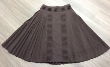 Coast Brown Cotton Full Pleated Skirt Size UK 8 Casual Spring Summer Wear