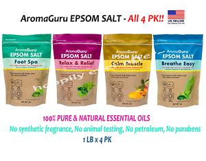 4 PK AromaGuru EPSOM SALT Set - All 4 PK! 100% Pure & Natural Essential Oils