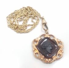 Intaglio Scrollwork Ladies Watch Chain Fob Antique Art Deco Yellow Gold Filled