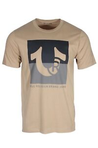 True Religion Two Tone Men's Short Sleeve Logo T-Shirt in Khaki 105045 2000