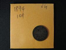 1894 10 Cent Coin Canada Victoria Ten Cents .925 Silver VG Grade