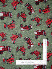 International Harvester Farmall Vintage Tractor Grass Cotton Fabric By The Yard