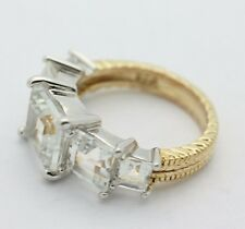 Sterling Silver .925 Large Tiered Cubic Zirconia Ring Gold Overlay Sz6 5.7g E258