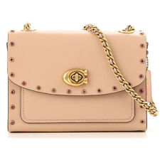 COACH 35566 Crystal Border Rivets Parker 18 Shoulder Bag Nude Pink NWT - $350