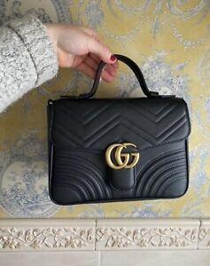 Gucci GG Marmont small top handle bag Black