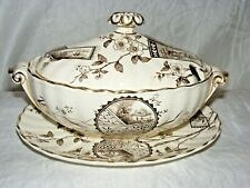 ANTIQUE BURGESS & LEIGH AESTHETIC MOVEMENT SAUCE TUREEN & SAUCER CONWAY PATTERN