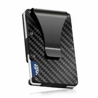 Carbon Fiber RFID Blocking Slim Money Clip Card Holder Metal Men's Wallet Gift