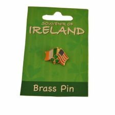 Irish Tricolour with USA Flag Pin & Easter Lily Pin - Perfect Gift For Easter