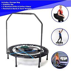 MaXimus PRO Folding Rebounder Indoor Exercise Mini Trampoline with Bar