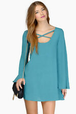 Tobi Long Sleeve Teal Dress Cross Front/Back- Small