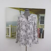 Adrianna Papell White Floral  V-Neck Long Sleeve Blouse Size S