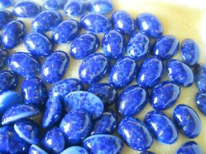 36 Vtg. West German Glass Oval Cabochones in 14x10mm Lapis Lazuli.
