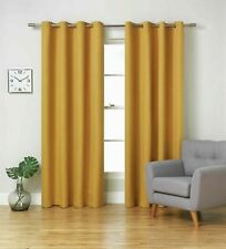 "SALE was£60 Blackout Lined Eyelet Curtains 66x90"" 168x229cm Ochre Yellow Mustard"