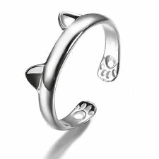 Women Fashion Silver Cute Cat Kitten Ears Animal Design Ring Adjustable Gift New