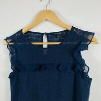 Basque Womens Floral Lace Top Size 8 Blue Sleeveless Gorgeous Top
