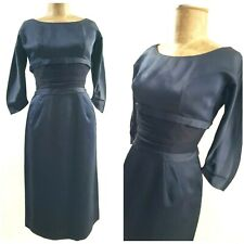 Vintage 50s Satin Ruched Waist Pencil Dress Size Small Cocktail Party Blue