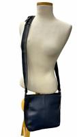 Sondra Roberts Zipper Accent Leather Crossbody Handbag Purse Black Blue