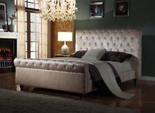 4FT6 DOUBLE VELVET CHESTERFIELD SLEIGH BED FRAME WITH POCKET MEMORY MATTRESS