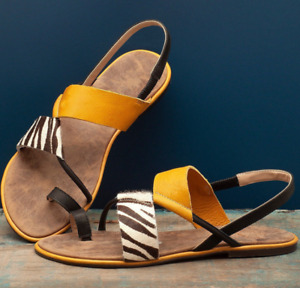 Ladies Flat Sandals Large Size Stripe Slingback Round Toe Beach Women Roman Shoe