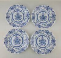 Vintage Arcopal HONORINE Dinner Plates SET OF 4 BLUE WHITE Scalloped FRANCE