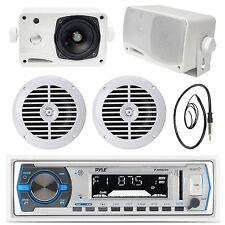 """5.25"""" White Marine Speakers,White Bluetooth USB Radio, Antenna,3.5"""" Box Speakers"""