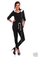 Jumpsuit With Pockets & Buttons 3/4 Sleeve Catsuit Playsuit Sizes 8-14 FT1898