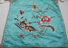 Antique Chinese Hand Embroidered Cushion Wall Hanging 46x49cm M9
