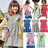 Toddler Baby Kid Girl Pattern Dress Ruffles Sleeve Dresses Outfit Clothes Casual