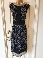 Beautiful Phase Eight Fit & Flare, Black, Blue & Ivory  Occasion Dress UK 16